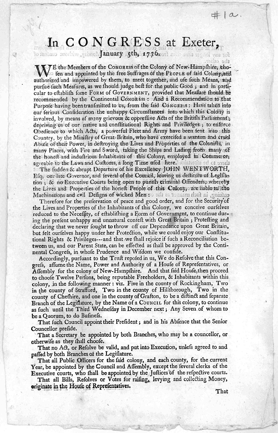 Broadside In Congress at Exeter 1776