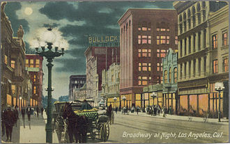Bullock's - Postcard view of Broadway c.1908, showing original store