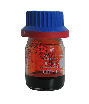 Properties of metals, metalloids and nonmetals - 25 ml of bromine, a dark red-brown liquid at room temperature
