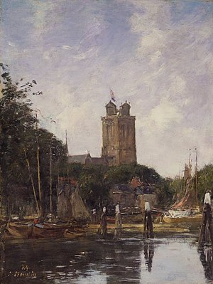 Grote Kerk, Dordrecht - Image: Brooklyn Museum Dordrecht, the Grote Kerk from the Canal Eugène Louis Boudin overall