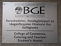 Budapest Business School. College of Commerce, Catering and Tourism Student's hostel plate - Újbuda, Kelenföld.JPG