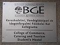 Budapest Business School. College of Commerce, Catering and Tourism Student's hostel plate - Újbuda, Kelenföld.JPG