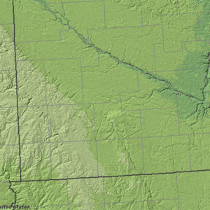 Buffalo Ridge - Buffalo Ridge is located within the Minnesota portion of the Coteau des Prairies, a highland represented by the light areas in this shaded relief image of southwestern Minnesota.