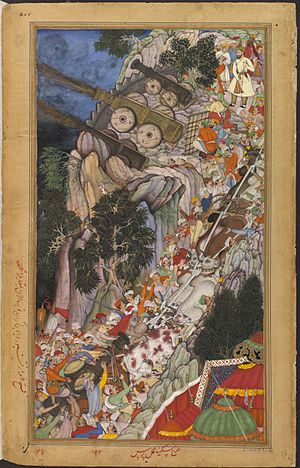 Mughal artillery - Image: Bullocks dragging siege guns up hill during the attack on Ranthambhor Fort