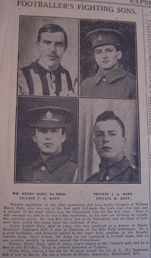 William Bury (footballer) - Newspaper article of William Bury and his three sons during WW1