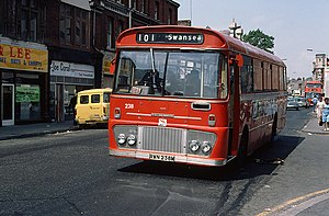South Wales Transport - Willowbrook bodied Ford outside Swansea station on as part of NBC in June 1980