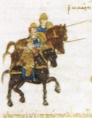 Battle of Hyelion and Leimocheir - Byzantine cavalry from the Skylitzes manuscript.