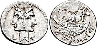 Fonteia (gens) - Denarius of Gaius Fonteius, 114-113 BC.  The Doscuri are depicted as a Janiform head on the obverse.  The reverse shows a galley, a reference to Telegonus, son of Ulysses and founder of Tusculum.