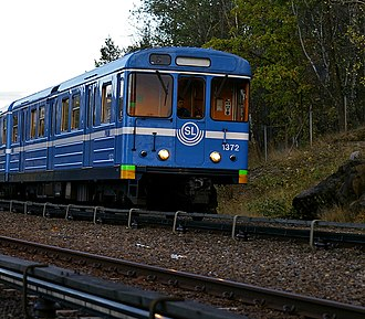 Stockholm metro - A C14 train on line 13 towards Norsborg in Bredäng