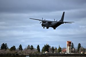 Valladolid Airport - CASA C-295M of the Spanish Air Force at the point of landing at the military base.