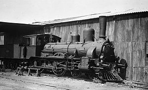 """French-Hellenic Railway Company - 4-4-0 steam locomotive """"102"""" of CFFH at Alexandroupolis."""