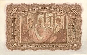 St. Gallen embroidery - Swiss 500 - franc note from the series of 1911, according to a draft of Eugène Burnand. The big economic weight of the St. Gallen embroidery shows the choice as a motive for the banknote with the second highest nominal price.