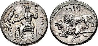 Mazaeus - Image: CILICIA, Tarsos. Mazaios. Satrap of Cilicia, 361 0 334 BC