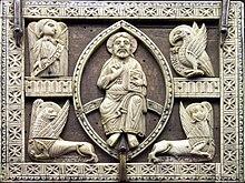 Il tetramorfo nella tradizione cristiana, su una copertina cluniacense.