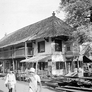 Jamiat Kheir - Langgar Tinggi mosque built by Syekh Said Naum, where the top floor was used as a mosque while the bottom were used as two houses in Pekojan, 1949
