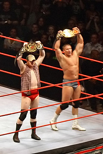 Lance Cade and Trevor Murdoch - Murdoch (left) and Cade as the World Tag Team Champions.