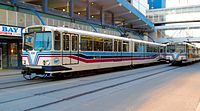 Calgary U2-type LRVs passing on the 7th Avenue transit mall in 2008.jpg