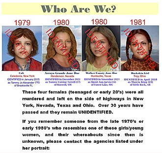 Unidentified decedent - Example of a poster detailing information about unidentified victims, such as the Caledonia Jane Doe (identified in 2015), Arroyo Grande Jane Doe, Walker County Jane Doe and the Buckskin Girl