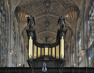 Organ scholar - Organ scholars often gain experience on a cathedral or collegiate chapel organ, such as this one at King's College Chapel, Cambridge