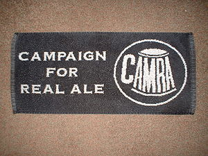 Campaign for Real Ale - CAMRA logo on a bar towel