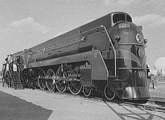 "Confederation locomotive - CN 6400 Class U-4-a on display at the 1939 New York World's Fair ""Railroads on Parade"" exhibit"