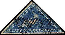 Un francobollo del Capo di Buona Speranza di forma triangolare