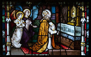 Alphonsus Liguori - Alphonsus kneeling before the Blessed Sacrament in a 19th-century stained glass window of Carlow Cathedral