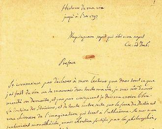 Histoire de ma vie - First page of Casanova's manuscript.