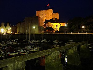 Rushen Castle at night, Castletown, Isle of Ma...