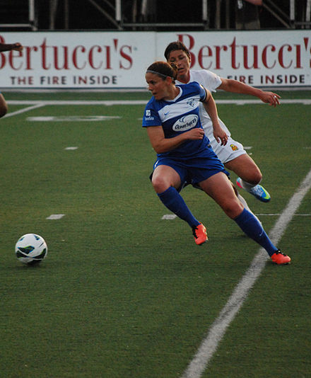 Whitehill defending against Abby Wambach of the Western New York Flash on June 5, 2013. Cat Whitehill.jpg
