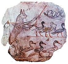 satire  satirical ostraca showing a cat guarding geese c 1120 bc