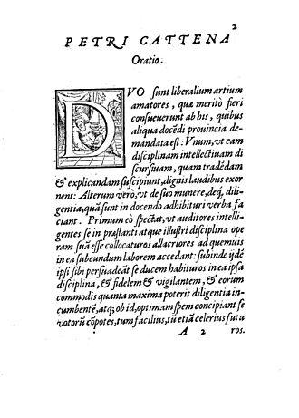 Pietro Catena - Oratio pro idea methodi, 1563