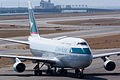 Cathay Pacific Airways ,CX562 ,Boeing 747-412F ,B-HKT ,Arrived from Hong Kong ,Kansai Airport (16045920604).jpg