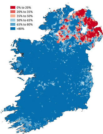 Proportion of respondents to the Ireland census 2011 or the Northern Ireland census 2011 who stated they were Catholic. Areas in which Catholics are in the majority are blue. Areas in which Catholics are in a minority are red. Catholicism in Ireland.png