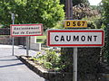 Caumont (Aisne) city limit sign.JPG