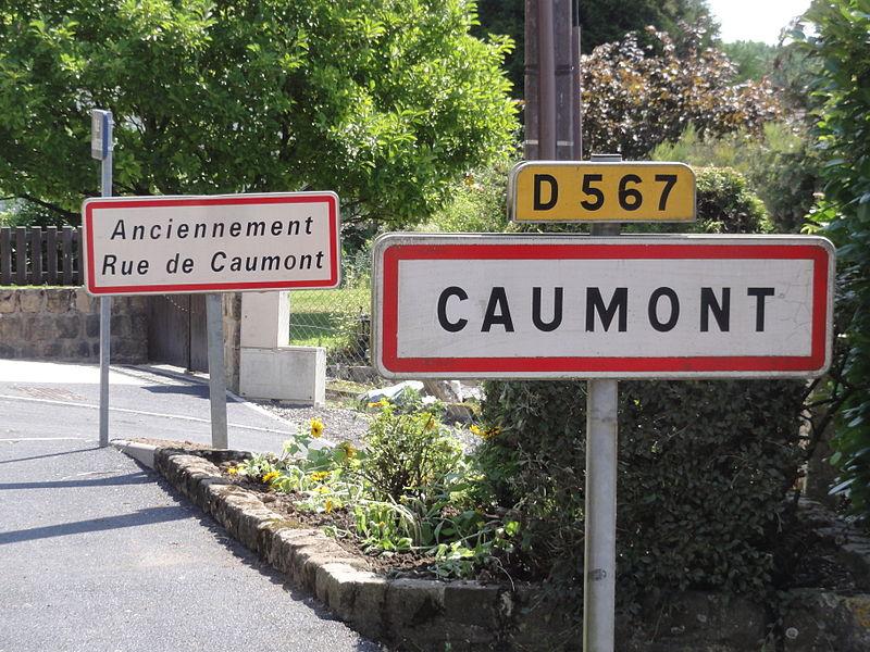 Caumont (Aisne) city limit sign