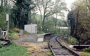 Causeland railway station - Looking north in 1987