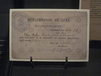 Von Bissing University - A certificate of inscription from Von Bissing University
