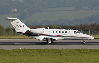 Bristol Airport - Centreline Air Charter Cessna Citation CJ2 taking off at Bristol Airport.