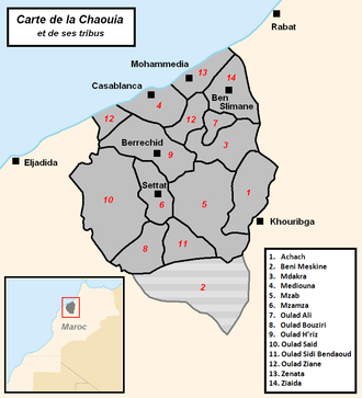 Chaouia (Morocco) - Map of the Chaouia and its tribes