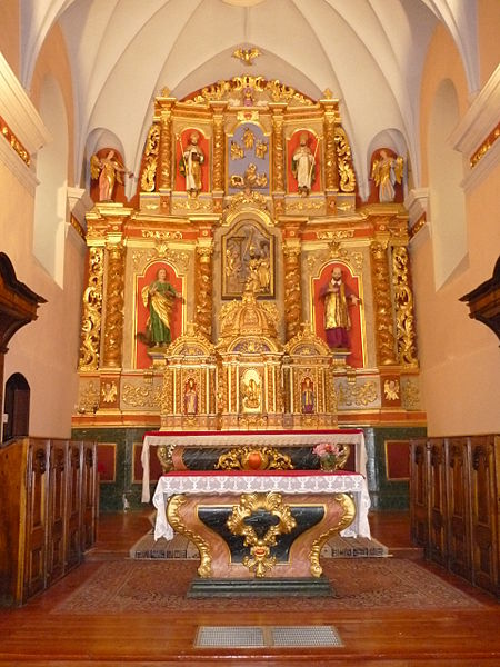 Saint Anne church altar at Aravis mountain pass, La Giettaz, Savoie, France