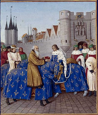 Meeting of King Charles V of France and Emperor Charles IV outside the Porte du Temple [fr] in Paris in January 1378. The depicted ceremonial places both monarchs on equal footing, but only the French king gets to ride a white horse. Illuminated manuscript of the Grandes Chroniques de France by Jean Fouquet, ca.1455-1460