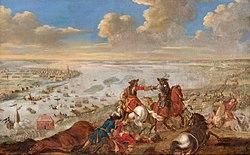 Charles XII is crossing the Düna, 1701.jpg