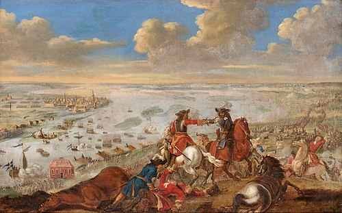 Battle of Riga, the first major battle of the Swedish invasion of Poland, 1701 Charles XII is crossing the Duna, 1701.jpg