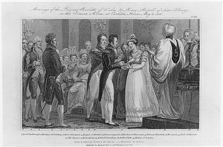 1818 engraving of the wedding of Charlotte and Leopold Charlotte and Leopold wedding.jpg