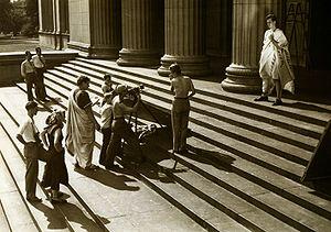 Production scene from Julius Caesar. 1950. The...