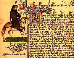 Portrait of Chaucer as a Canterbury pilgrim in the Ellesmere manuscript of The Canterbury Tales