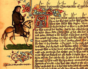 Portrait of Chaucer as a pilgrim in the Ellesmere manuscript (around 1410) of the Canterbury Tales