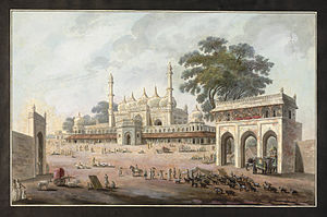 Chawk Masjid - A painting of the Chawk Masjid in Murshidabad (circa 1790-1800).