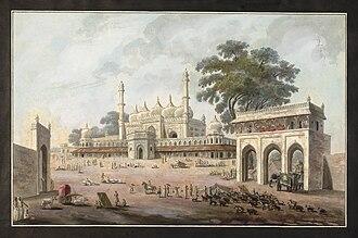 Chawk Masjid - A painting of the Chawk Masjid in Murshidabad (circa 1790-1800).